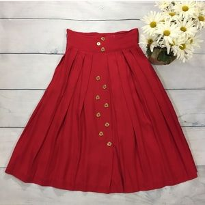 Vintage wide-high-waited red pleated skirt 2-4